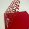 Lazeriu išpjautas raudonas vestuvių vokas