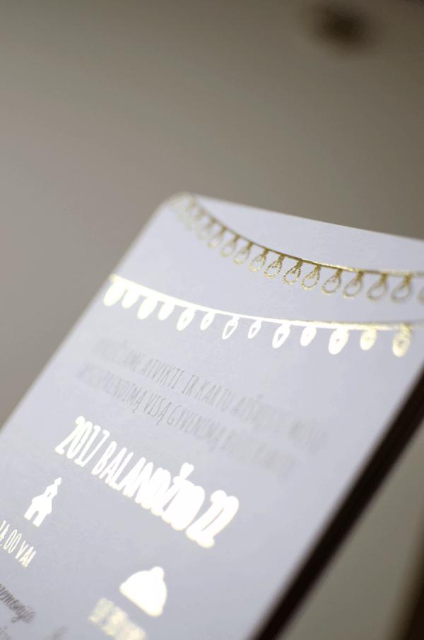 Auksu dengtas vestuvinis prabangus kvietimas
