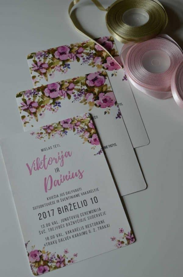vestuviniai kvietimai akvarelinės gėlės