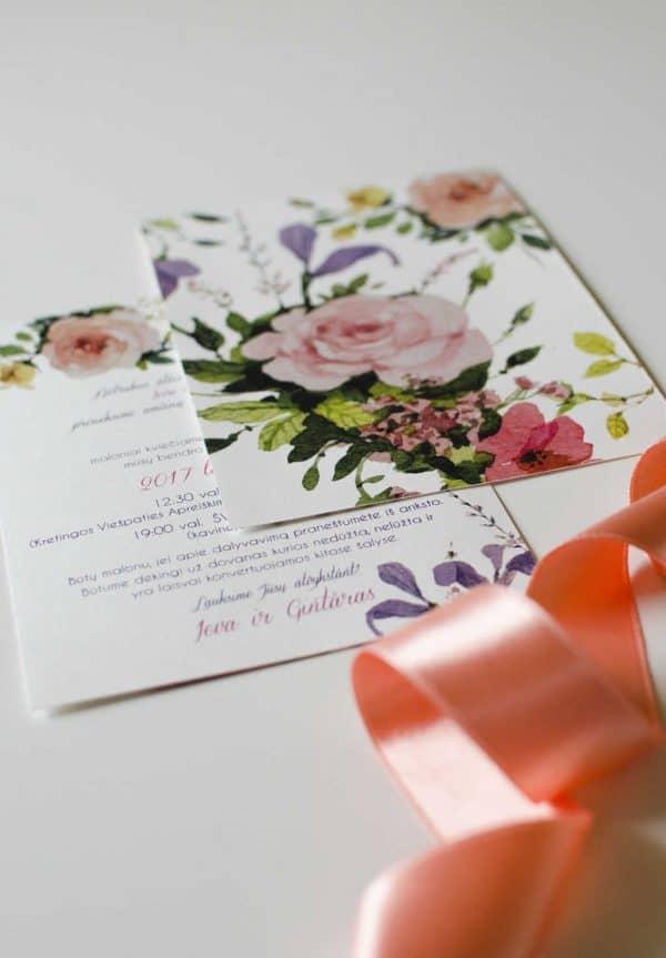 Vestuviniai kvietimai Rožinė palaima