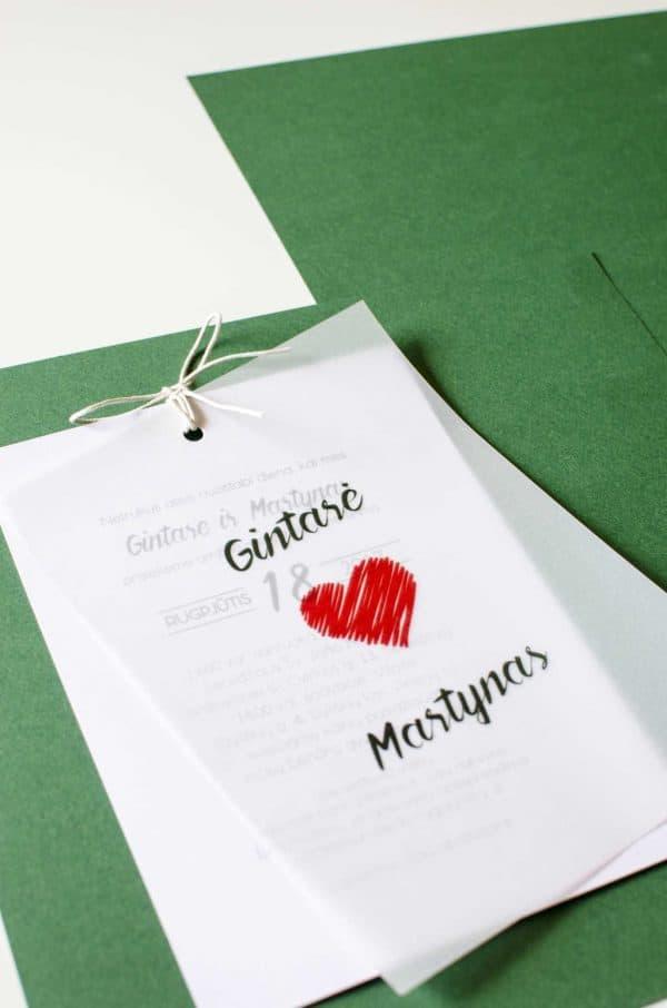 Dvigubas vestuvinis kvietimas meilė