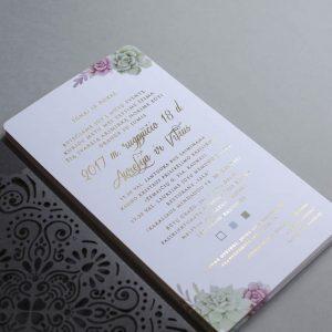 Vestuviniai kvietimai Auksas ir sukulentai