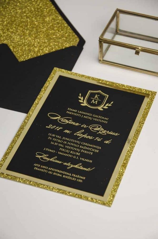Vestuviniai kvietimai Auksinė klasika
