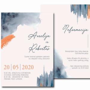 vestuvių kvietimai akvarelinė meilė