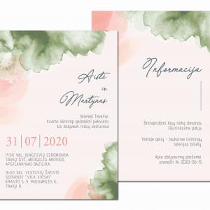 vestuvių kvietimai su akvarele