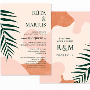 dvipusiai kvietimai akvareliniai su palmės šakele