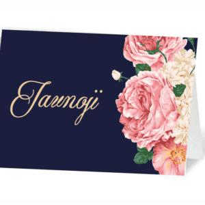 vardo kortelės su gėlėmis