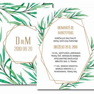 vestuviniai kvietimai su žaluma