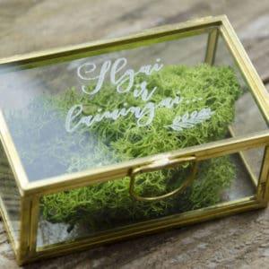 auksinė vetuvių dėžutė žiedams