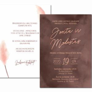 vestuvių kvietimas kakavinis aksomas