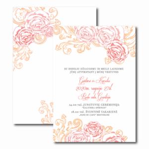vestuvių kvietimas su oranžiniais gėlėmis