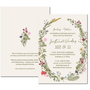 vestuviniai kvietimai su gėlėmis