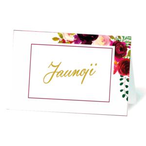 vardo kortelė su gėlėmis