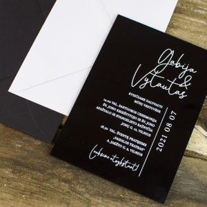 Vestuviniai kvietimai ant organinio juodo stiklo